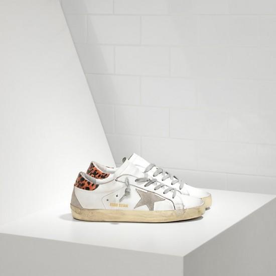 Women Golden Goose superstar in leather star white leopard cream sneaker