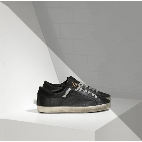 Women Golden Goose superstar in leather with openwork star black sneaker