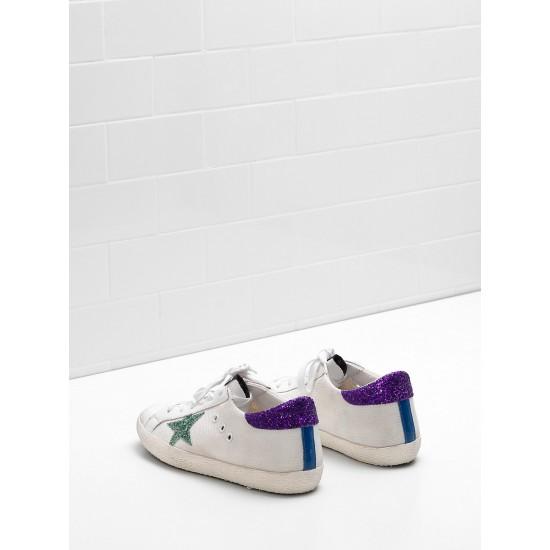 Women Golden Goose superstar in technical mesh glitter coated star sneaker