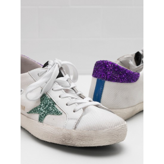 Women Golden Goose superstar in technical mesh glitter coated star sneaker