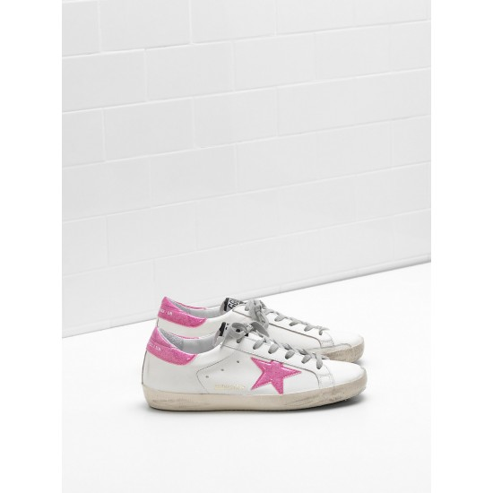 Women Golden Goose superstar leather glitter star coated in pink star sneaker