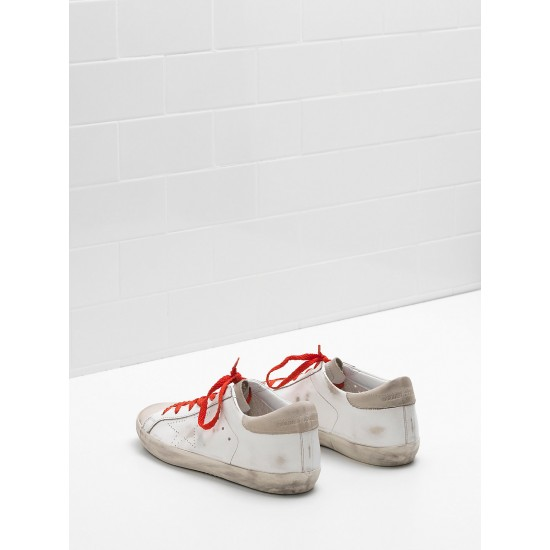 Women Golden Goose superstar leather openwork star red lace sneaker
