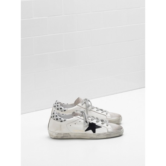 Women Golden Goose superstar leather star in glitter black logo sneaker