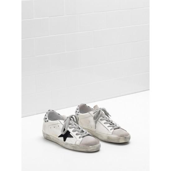 Women Golden Goose superstar leather star in glitter black logo sneaker