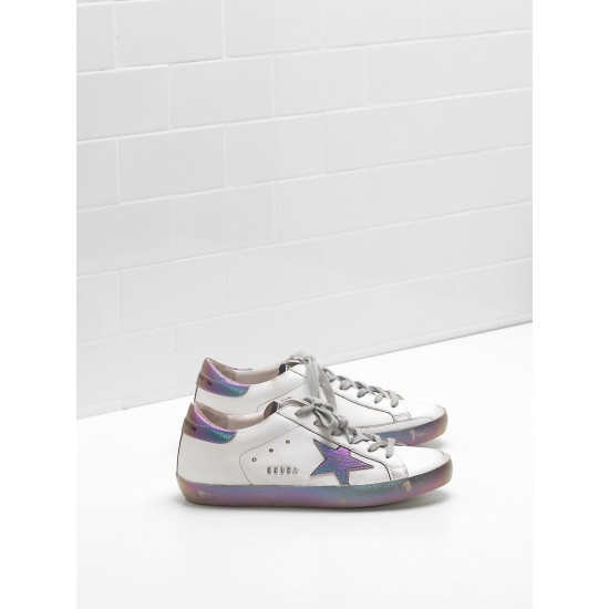Women Golden Goose superstar leather star in iridescent rainbow sneaker