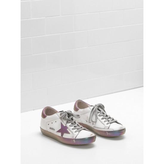Women Golden Goose superstar leather star in iridescent rainbow sneaker