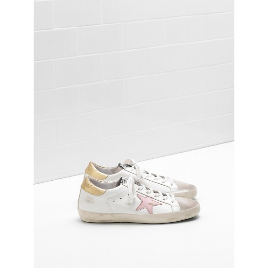 Women Golden Goose superstar leather star in laminated sneaker