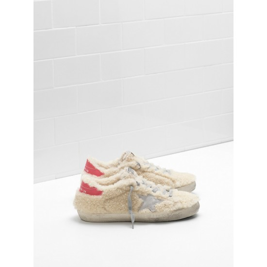 Women Golden Goose superstar shearling suede star leather sneaker