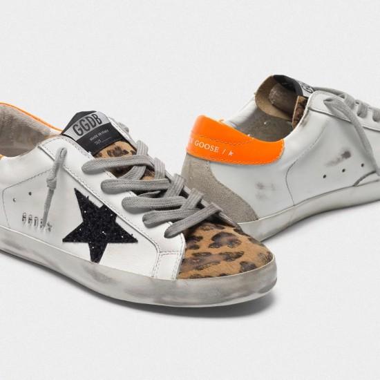 Women Golden Goose superstar with leopard print black star orange sneaker