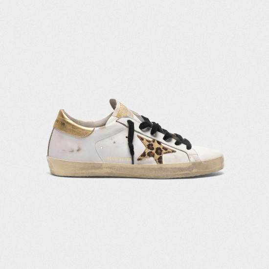 Women Golden Goose superstar with leopard print star sneaker