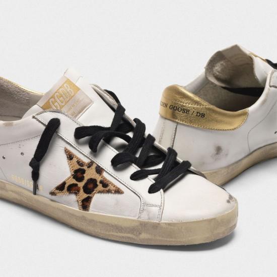 Women Golden Goose superstar with leopard print star sneaker