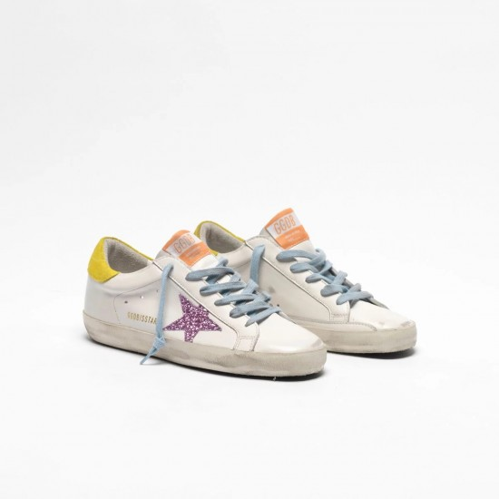 Women Golden Goose superstar with pink glittery star and yellow sneaker