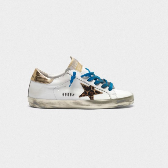 Women Golden Goose superstar with sparkly foxing leopard print star sneaker