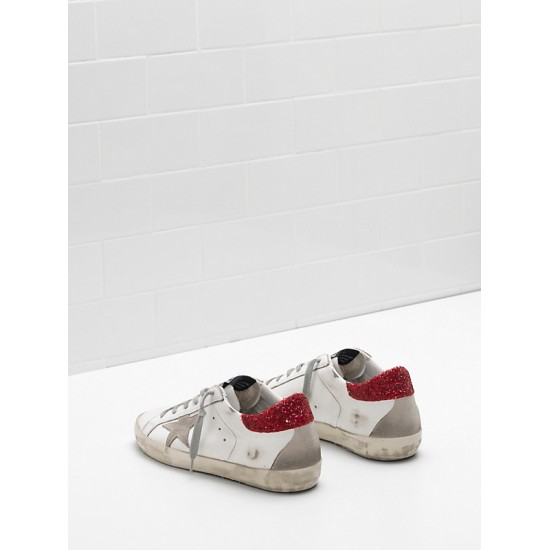 Women Golden Goose superstar upper in calf leather star glitter coated sneaker