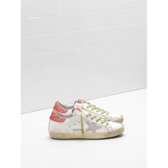 Women Golden Goose superstar upper suede star glitter coated orange sneaker