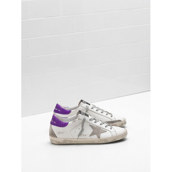 Women Golden Goose superstar upper suede star glitter coated purple sneaker