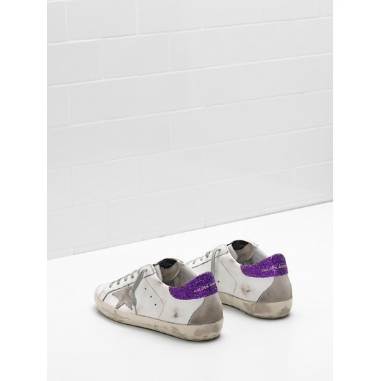 Women Golden Goose superstar upper suede star glitter coated purple sneaker