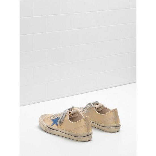 Men/Women Golden Goose v star 2 in laminated cotton canvas star sneaker