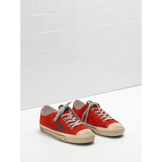 Men/Women Golden Goose v star 2 calf suede upper star red sneaker