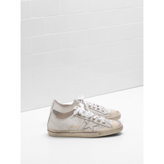 Men/Women Golden Goose v star 2 upper in crackle effect leather sneaker